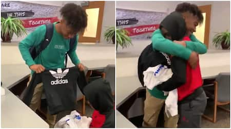 Kind boy makes classmate who wears same cloth to school smile, gives him 3 bags of designer clothes