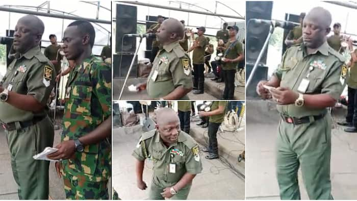 Nigerian soldiers show their soft side, sing juju song with sweet voices that melts hearts on social media