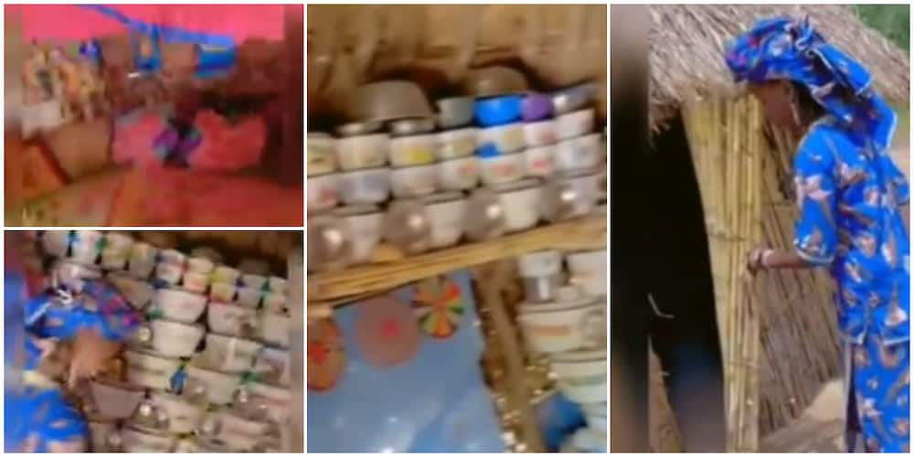 Nigerians react to video of a hut interior that has a wall of iron plates and big colourful bed