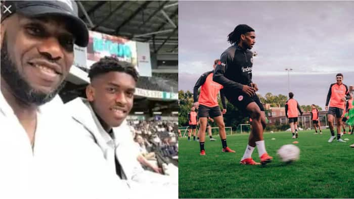 Super Eagles legend Okocha watches on as his son stars in training with top German club, set to fill his shoes