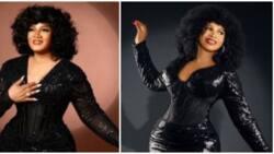 Actress Omotola Jalade Ekeinde's gorgeous black ensemble recreated by pretty lady