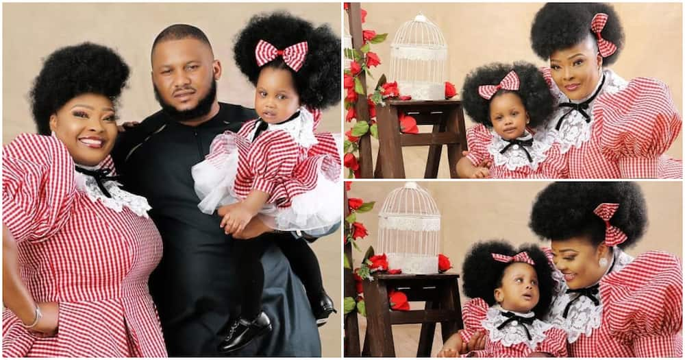 Actress Ronke Odusanya's baby daddy shares cute family photo as their daughter clocks 1