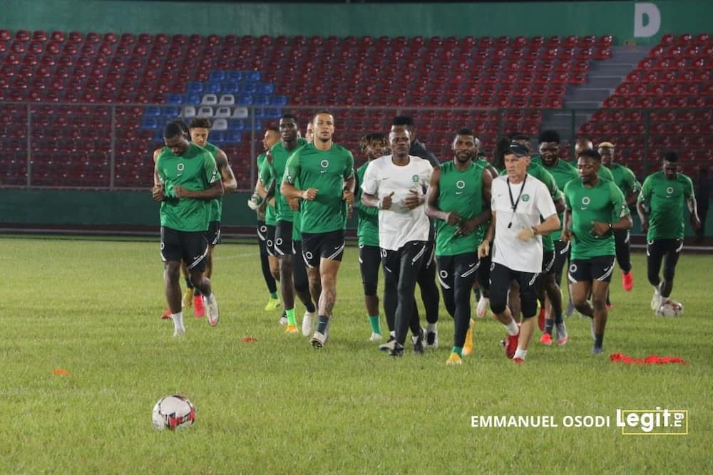Super Eagles players training ahead of clash with Sierra Leone