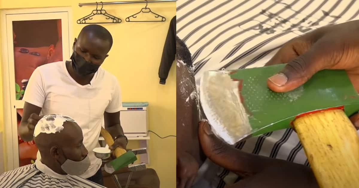 Talented Barber who Shaves People's Hairs with Axe Goes Viral, He Charges N1800 Per Haircut ▷ Nigeria news | Legit.ng