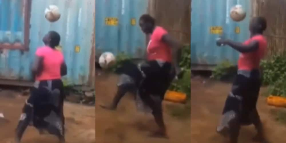 African woman shows amazing football skills that got attention of former US president Trump