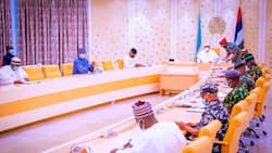 BREAKING: President Buhari reconvenes high-powered security meeting at Presidential Villa
