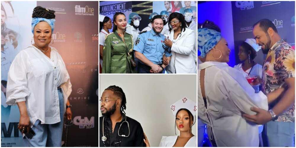 Celebs Storm Movie Premiere Dressed As Doctors, Nurses, Sola Sobowale, Ramsey Noah Gets Fans Gushing