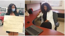 Female graduate who had hit the street with cardboard to beg for job finally gets one, shares office photo