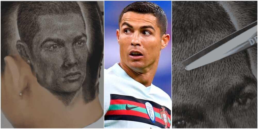 Barber draws stunning image of Cristiano Ronaldo with scissors