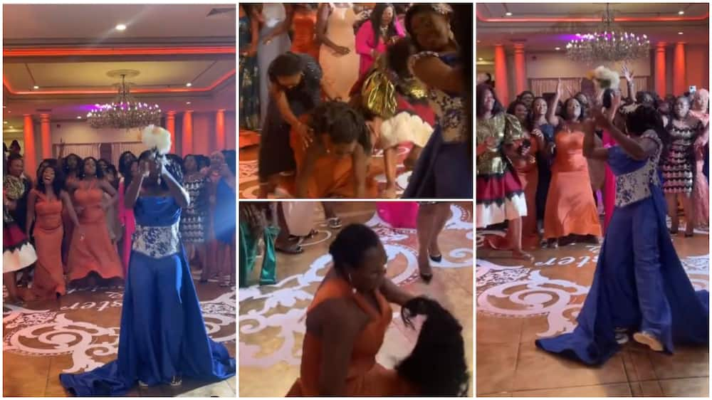 Ladies struggles to catch bride's flower at wedding, fight for it, bridesmaid loses her wig in video