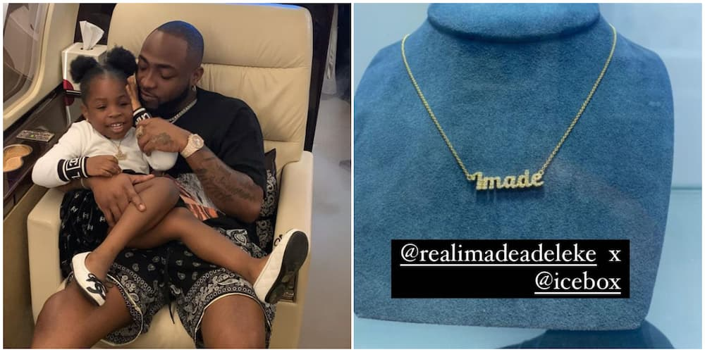 Davido Goes All Out for Daughter Imade, Buys Customized Pendant Worth Millions for Her