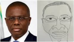 It's me you drew like this? Nigerian governor questions artist over funny looking portrait, invites him to his office to present it