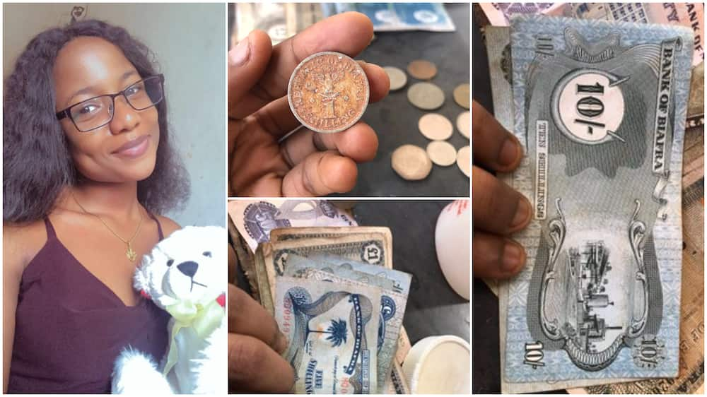 Nigerian Lady Shares Photos of old Biafran Notes Found in Father's House, many React