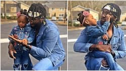 Actor Gbenro Ajibade and 2-year-old daughter step out in lovely matching denim outfits (photos)