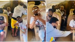 Actor Zubby Michael can't contain his excitement as he takes his first ever private jet ride with Davido