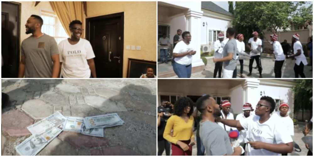 Warri Pikin Throws Traditional Birthday Surprise for hubby, Sprays Him with 100 Dollar Bills