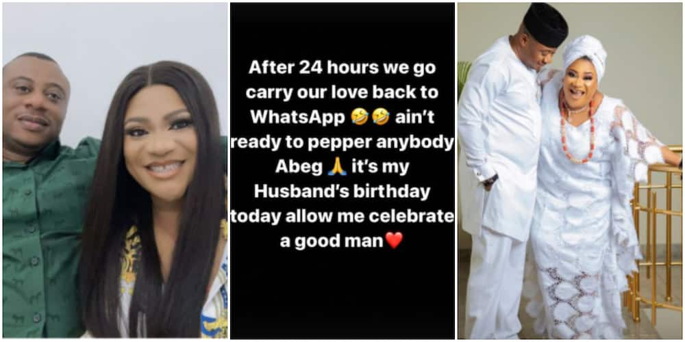 Actress Nkechi Blessing Tensions Fans, Shares Wedding-Like Photos to Celebrate as Hubby Turns a Year Older