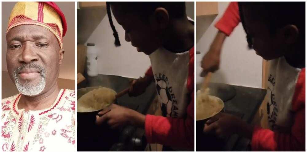 Abroad-based actor Deji Adenuga shares video of son making semo