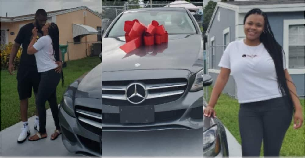 Young man gifts his wife luxurious Mercedes car for making him a dad; drops beautiful photos