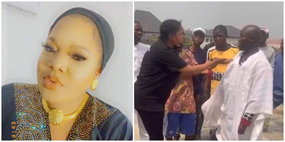 Video: Toyin Abraham placates area boys who tried to disrupt her movie set