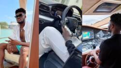 Arsenal star challenges Obafemi Martins, shows off N112m Lamborghini Urus and exotic boat