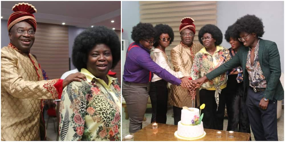Abia governor and wife mark 29th wedding anniversary, family members rock old school attires