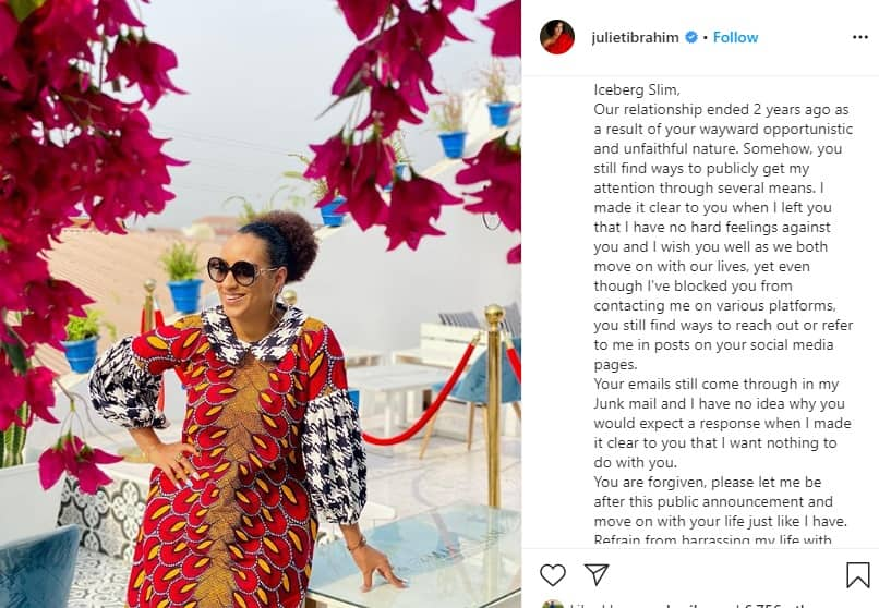 Juliet Ibrahim opens up on why her relationship with Iceberg Slim ended