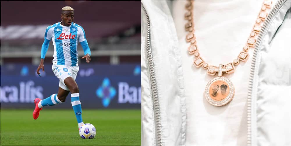 Super Eagles Star Who Can't Stop Scoring Shows Off Expensive Customised Gold Chain With Photo Of Late Parents