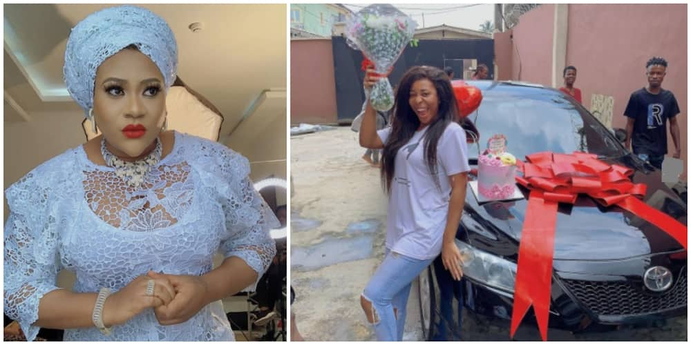 Nollywood actress Nkechi Blessing Sunday buys car for sister