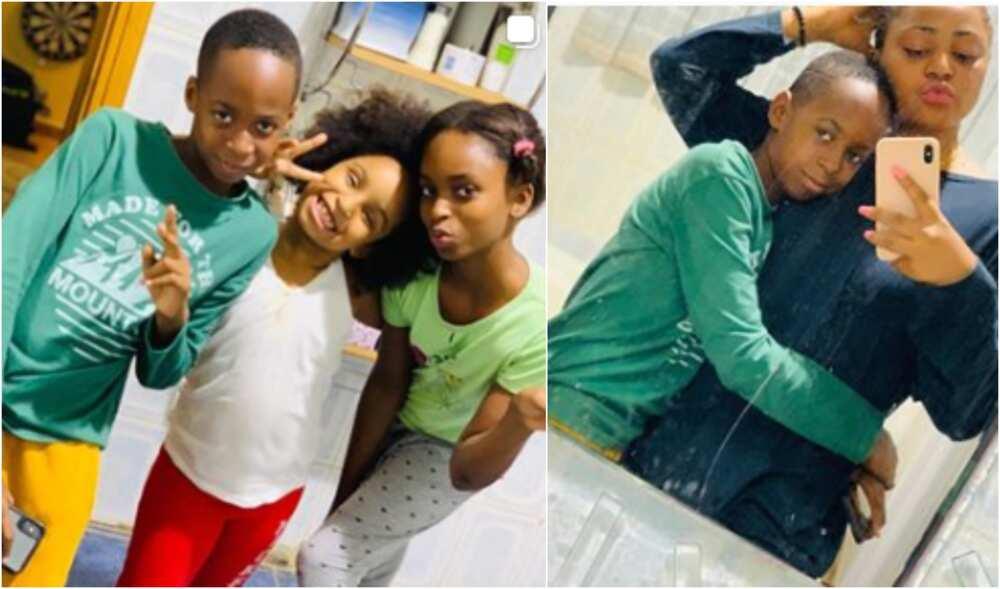 Regina Daniels bonds with stepchildren, shows off her belly (photos)