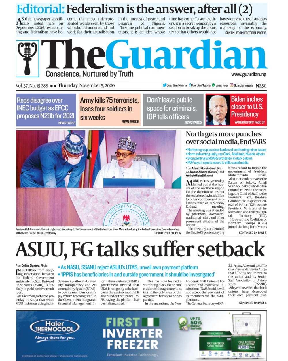 Newspaper review for Thursday, November 5