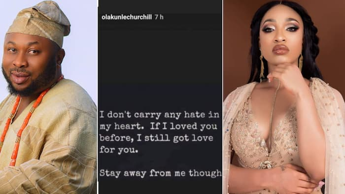 Churchill claps back at Tonto Dikeh after she prayed they never get back together again