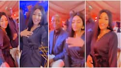 Regina Daniels rocks dress named after mother as she attends event with billionaire husband in new video