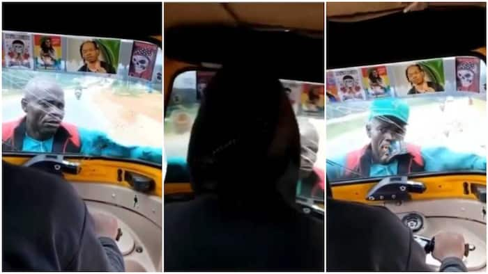 Stubborn man clings to the front of a moving keke because driver didn't give him money, video goes viral