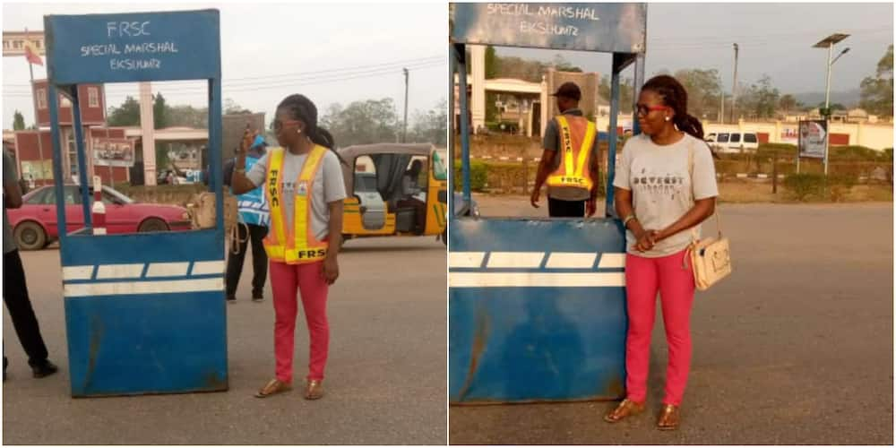 Young Nigerian Lady Receives Huge Praises on Social Media after Controlling Traffic