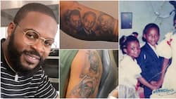Falz shares videos as he tattoos throwback photos of parents, siblings on his arm