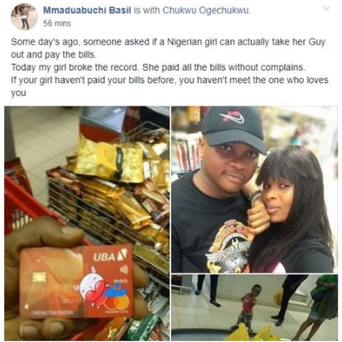 Nigerian man excited as girlfriend breaks record by taking him out and paying the bills
