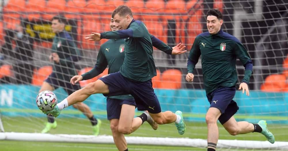 Italy national side in training.