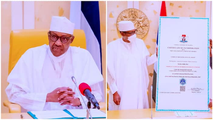 History made as Buhari receives Certificate of Incorporation for NNPC