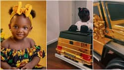 I almost thought it's a real one: Reactions as singer Simi's daughter rides in cute gold car