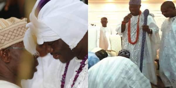 In photos: X times ex-president Olusegun Obasanjo respects tradition, kneels down for kings