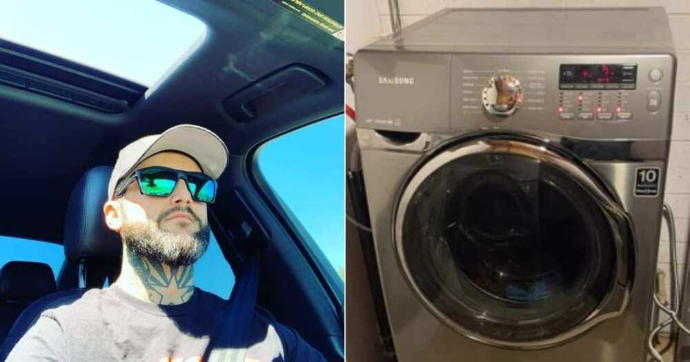 gift, washing machine, good people, baby, newborn, dad, dryer