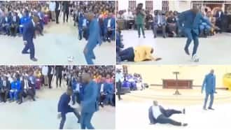 Drama as pastor turns church service to football field, dribbles members as crowd reacts, video goes viral