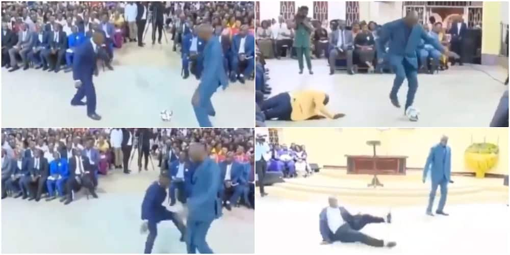 Nigerians react to video of pastor playing football inside church during service, members crashed to the floor