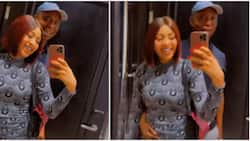 Regina Daniels blushes as Ned Nwoko wraps hand around her waist, draws her closer to him in loved-up video