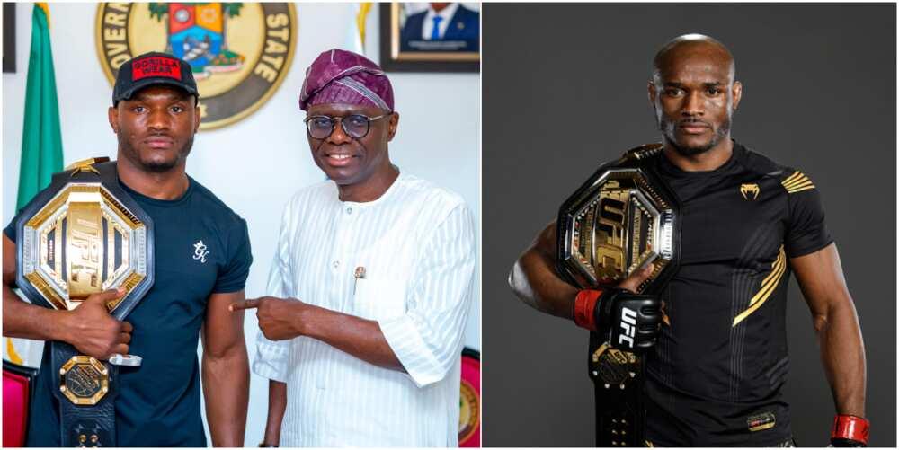 UFC Welterweight Champion Kamaru Usman Visits Lagos Gov Sanwo Olu