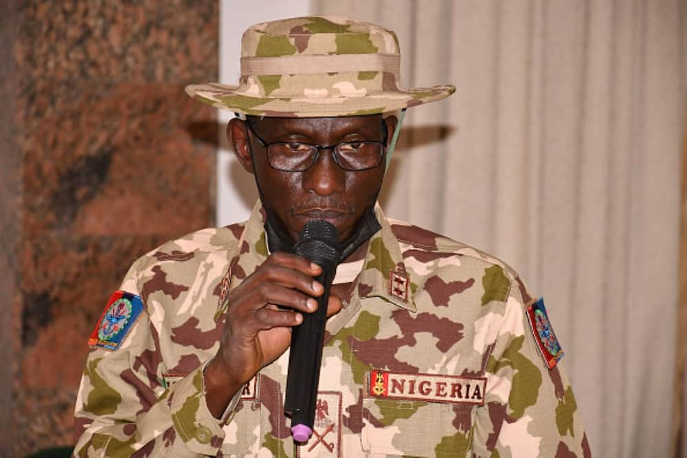 General irabor giving a statement