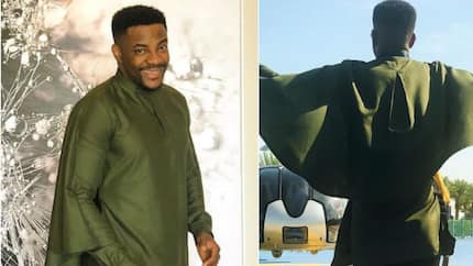 Ebuka Obi-Uchendu stuns fans as he rocks green cape fashion piece in Dubai (photos)