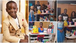 Mercy Johnson purchases 4 huge cakes, dresses kids in pretty costumes as only son celebrates 7th birthday