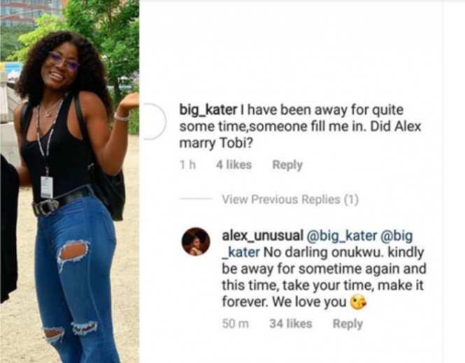 BBNaija's Alex shuts down marriage rumors with Tobi Bakre
